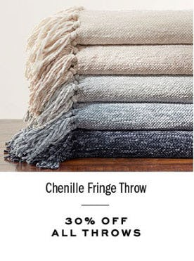 30% Off All Throws from Pottery Barn