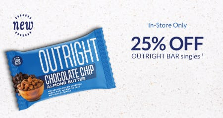 25% Off Outbright Bar Singles from The Vitamin Shoppe