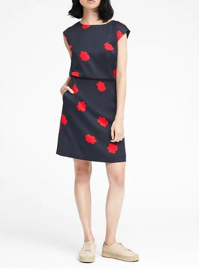 Floral Drape Back Dress from Banana Republic