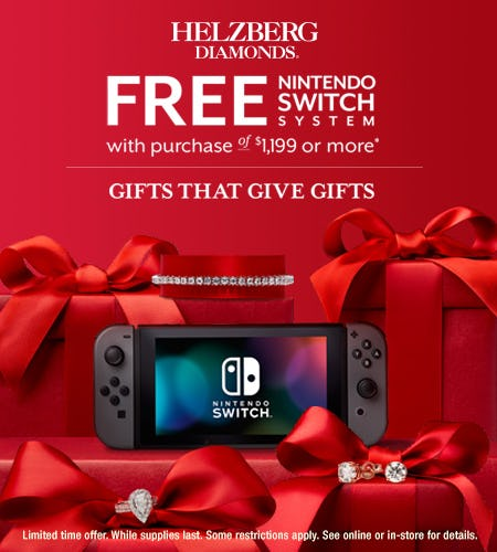 FREE Nintendo Switch System with purchase of $1,199 or more from Helzberg Diamonds