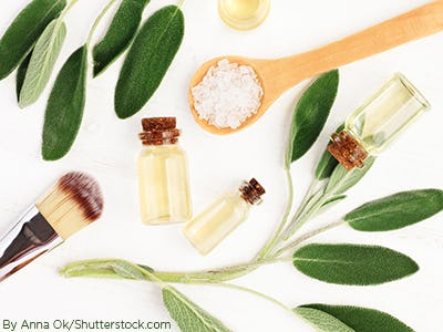 Flat lay image of beauty oils and essentials