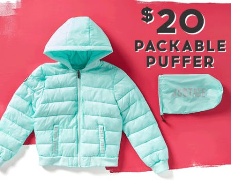 $20 Packable Puffer from Justice