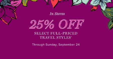 25% Off Travel Styles