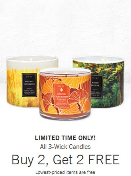 All 3-Wick Candles Buy 2, Get 2 Free from Bath & Body Works