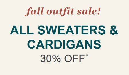 All Sweaters & Cardigans 30% Off
