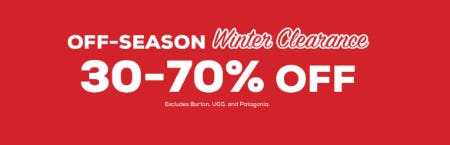 30-70% Off Off-Season Winter Clearance