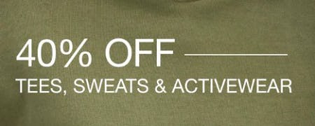 40% Off Tees, Sweats & Activewear from Gap