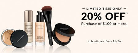 20% Off with $100 or More Purchase