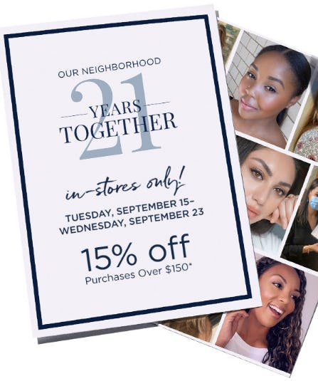 15% Off Purchases Over $150