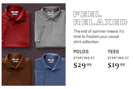 Polos Starting at $29.99 and Tees Starting at $19.99 from Men's Wearhouse