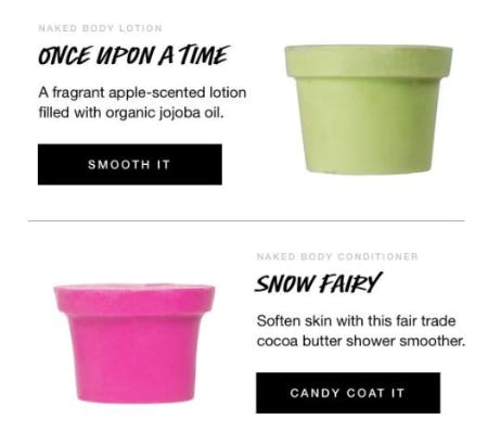 Naked Body Lotions from LUSH