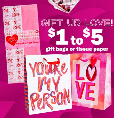 $1 to $5 Gift Bags or Tissue Paper