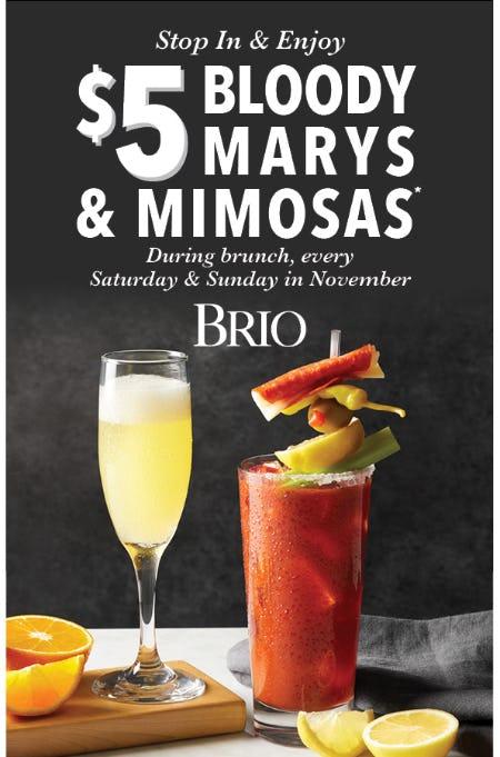$5 Bloody Marys & Mimosas