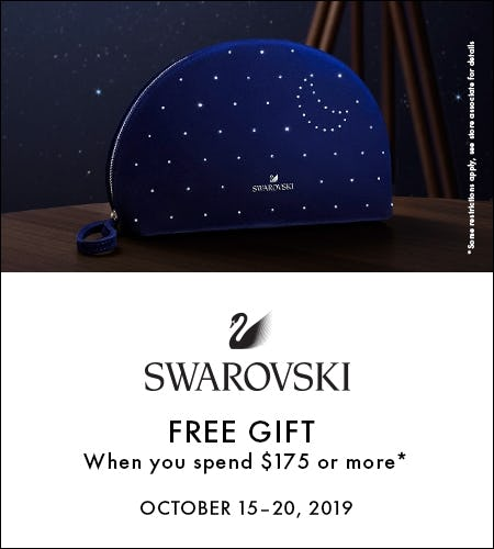 Free Cosmetic Pouch with purchase of $175 or more from Swarovski