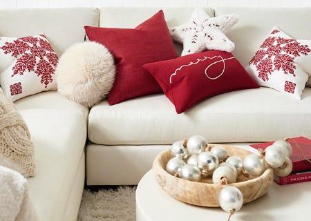 Festive Pillow Pairings from Pottery Barn