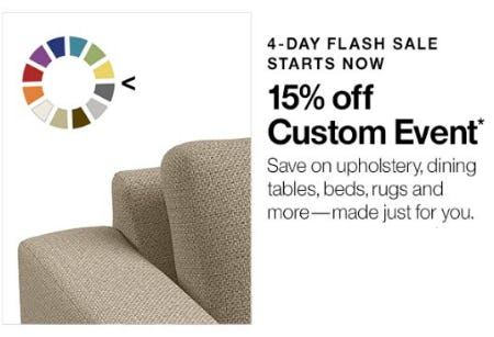 15% Off Custom Event from Crate & Barrel