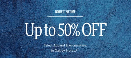 Up to 50% Off Select Apparel & Accessories