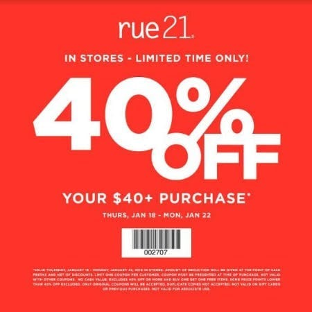 40% Off Your $40 Purchase