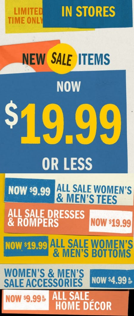New Sale Items Now $19.99 or Less