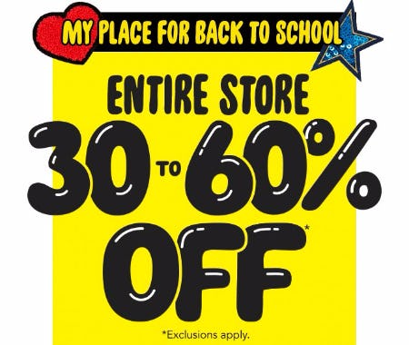 30 to 60% Off Everything