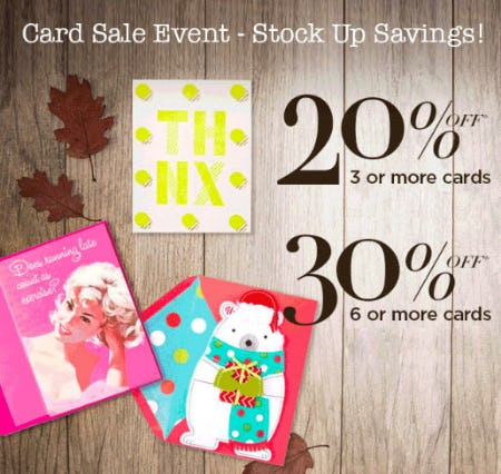 Up to 30% Off Card Sale Event