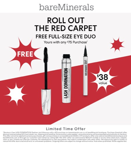 Red Carpet Promotion, Free Full Size Eye Duo from bareMinerals