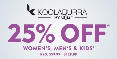 25% Off on Koolaburra by UGG from Shoe Carnival