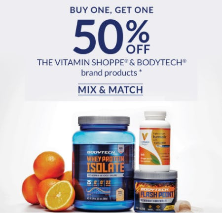 BOGO 50% Off The Vitamin Shoppe & BodyTech Brand Products from The Vitamin Shoppe