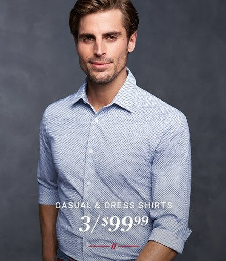 Casual & Dress Shirts 3 for $99.99 from Men's Wearhouse