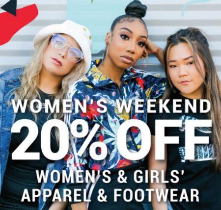 20% Off Women's & Girls' Apparel & Footwear