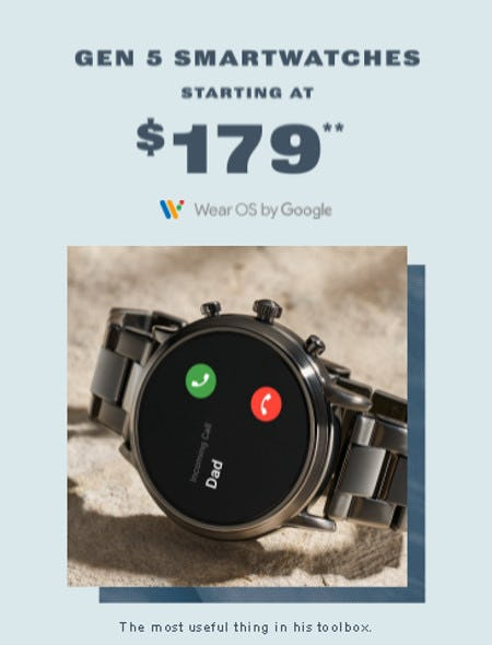 Gen 5 Smartwatches Starting at $179 from Fossil
