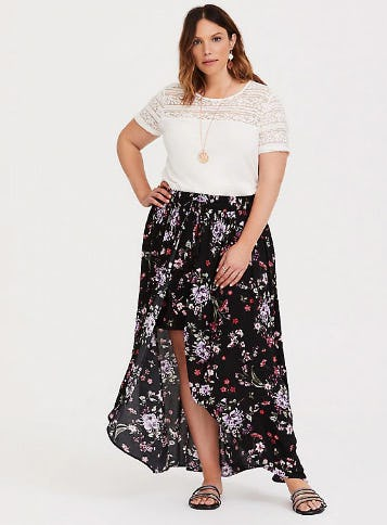 Black Floral Gauze Overskirt Short from Torrid
