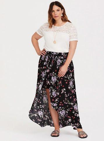 Black Floral Gauze Overskirt Short
