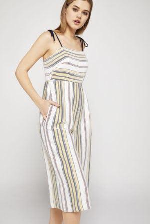 Striped Tie-Shoulder Culotte Jumpsuit from BCBG
