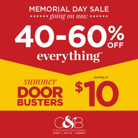 40-60% off everything - Memorial Day Stars & Stripes Event from christopher & banks | cj banks