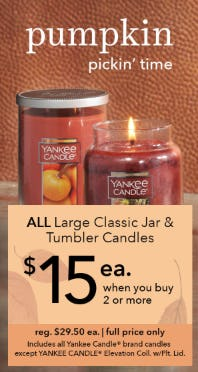 Candles for Only $15 Each from Yankee Candle