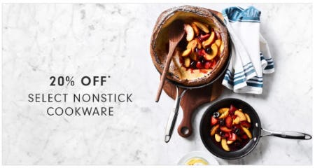 20% Off Select Nonstick Cookware