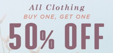 BOGO 50% Off All Clothing