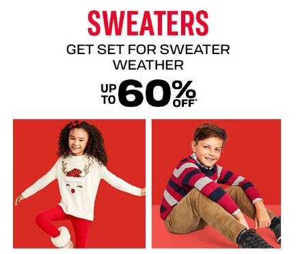 Sweaters up to 60% Off from The Children's Place Gymboree