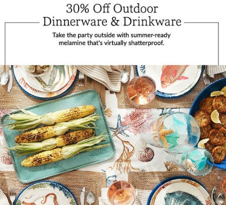 30% Off Outdoor Dinnerware & Drinkware from Pottery Barn