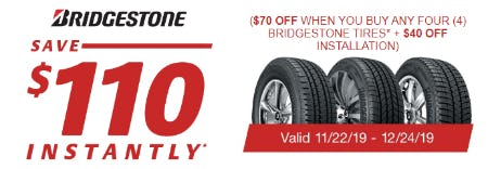 Save $110 Instantly on Bridgestone Tires from Costco