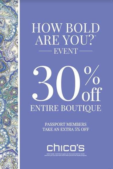 30% Off Entire Boutique from chico's