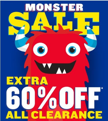 Monster Sale: Extra 60% Off All Clearance from The Children's Place