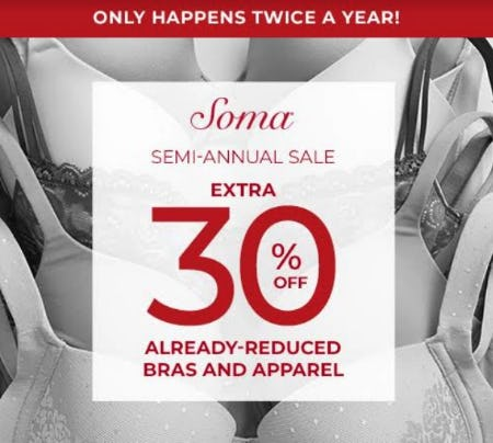 SAS EXTRA 30% OFF from Soma Intimates