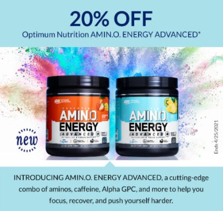 20% Off Optimum Nutrition Amin.O. Energy Advanced from The Vitamin Shoppe