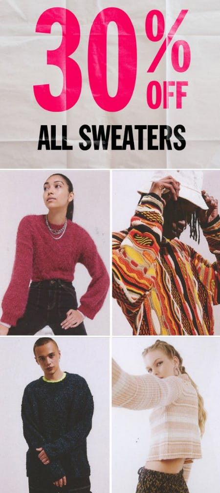 30% Off All Sweaters from Urban Outfitters