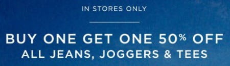 Buy One, Get One 50% Off All Jeans, Joggers & Tees from American Eagle Outfitters
