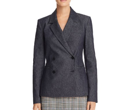 Theory Double-Breasted Denim Blazer from Bloomingdale's