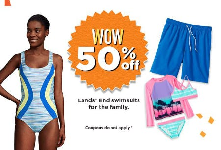 50% Off Lands' End Swimsuits for the Family from Kohl's