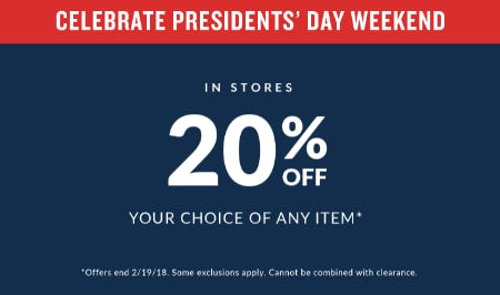 20% Off Your Choice of Any Item